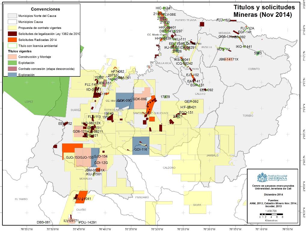 Titulos y Solicitudes Mineras Norte del Cauca